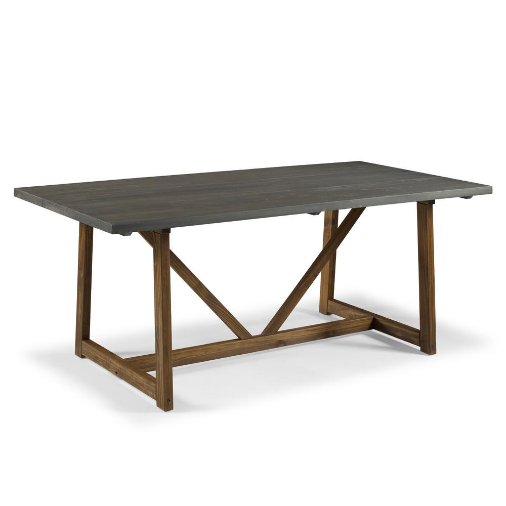 Welwick Designs 72 In Grey Brown Solid Wood Trestle Dining Table Hd8512 The Home Depot