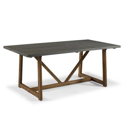 72 in. Grey/Brown Solid Wood Trestle Dining Table