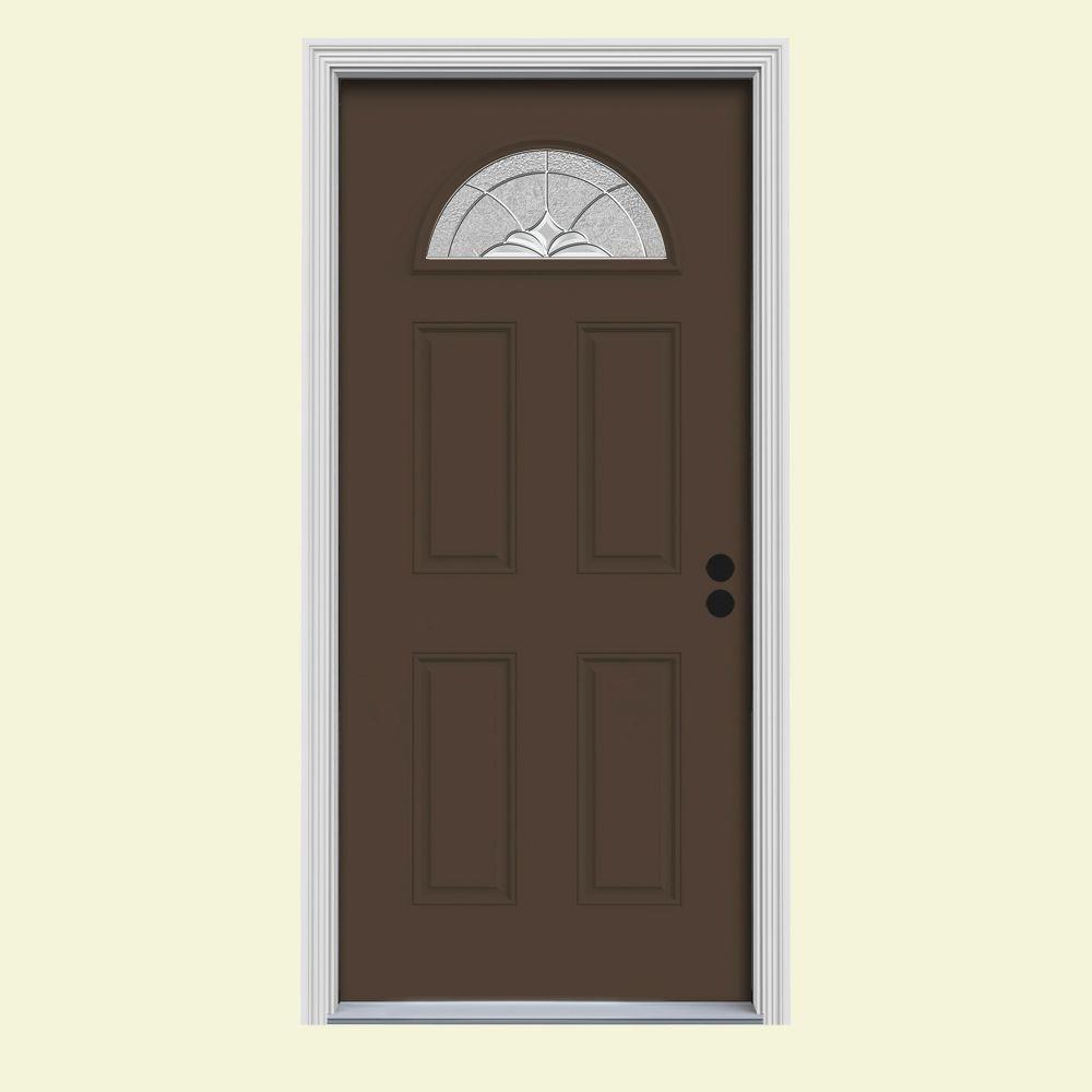 Langford Fan Lite Painted Premium Steel Prehung Front Door with Brickmould