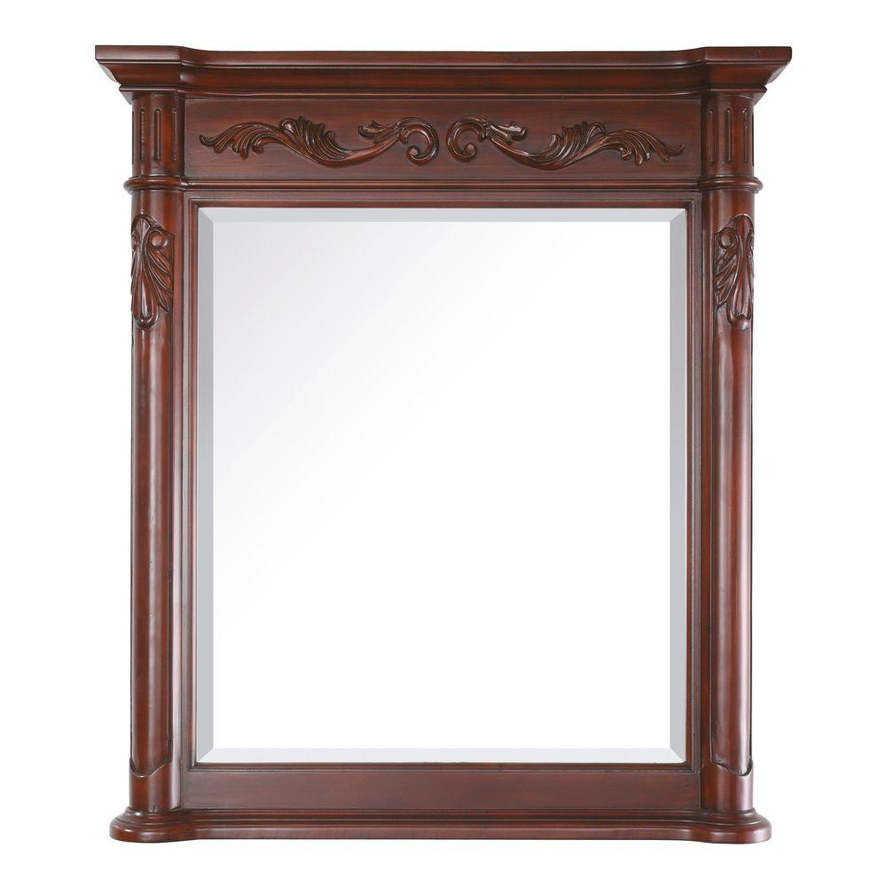 Avanity Provence 36 in. x 40 in. Beveled Mirror in Antique Cherry