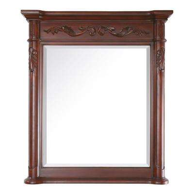 Provence 36 in. x 40 in. Beveled Mirror in Antique Cherry