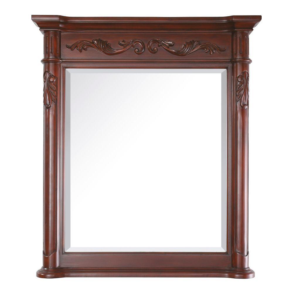 Provence 36 in. W x 40 in. H Framed Rectangular Bathroom Vanity Mirror in Antique Cherry
