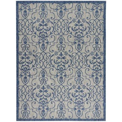 Garden Party Ivory/Blue 10 ft. x 13 ft. Medallion Transitional Indoor/Outdoor Area Rug