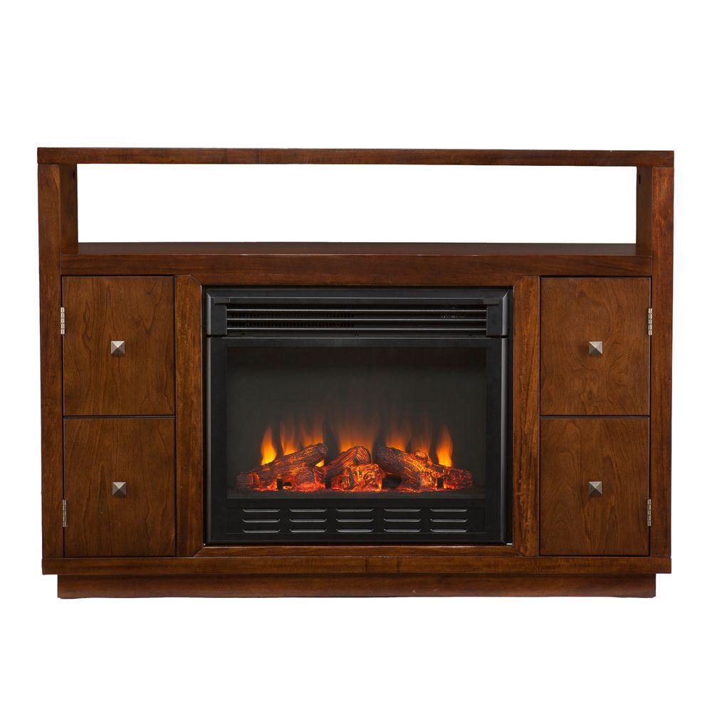 Southern Enterprises Isla 48 in. Media Console Electric Fireplace in Dark Tobacco