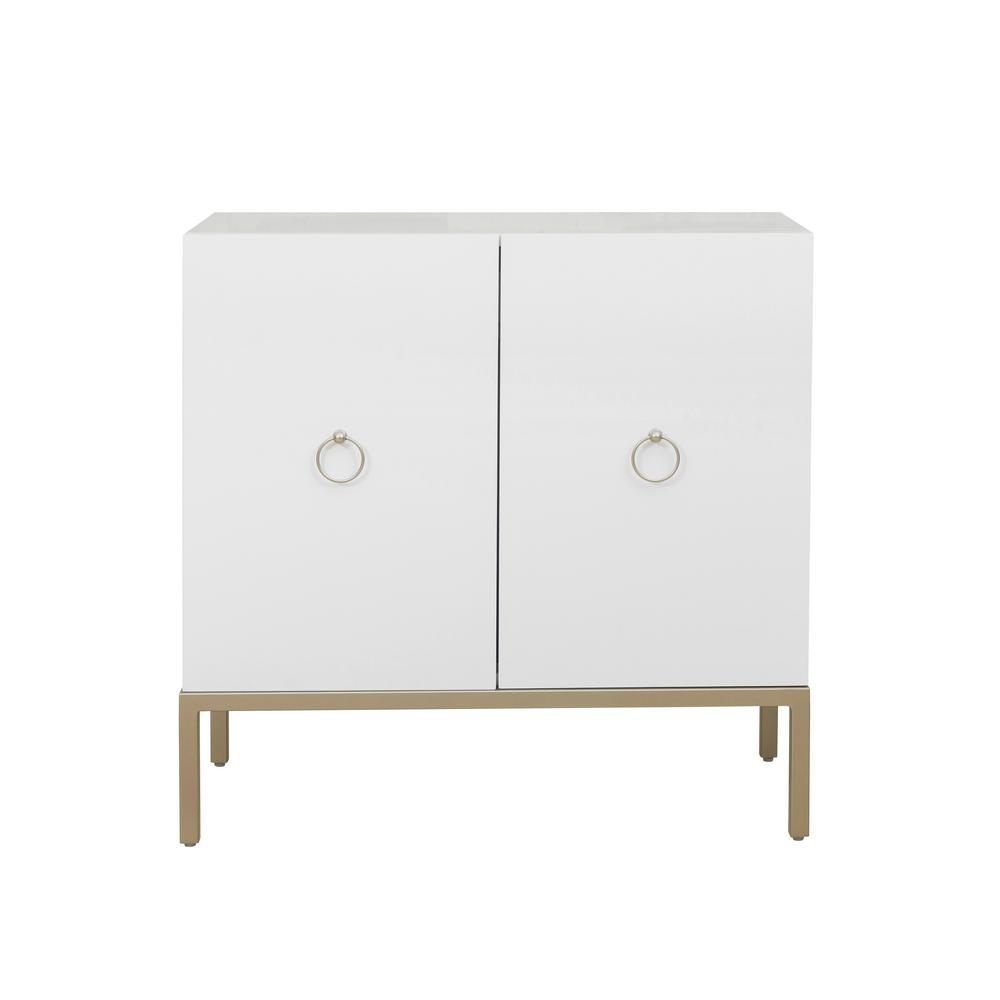 Accentrics Home Metal Base White Door Cabinet
