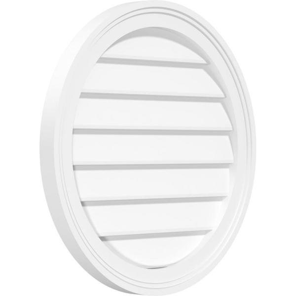 Ekena Millwork 38 In X 38 In Round White Pvc Paintable Gable Louver Vent Non Functional Gvpro38x3802sn The Home Depot