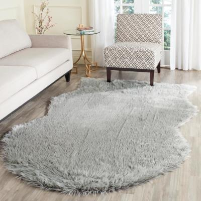 Faux Sheep Skin Light Gray 8 ft. x 10 ft. Area Rug
