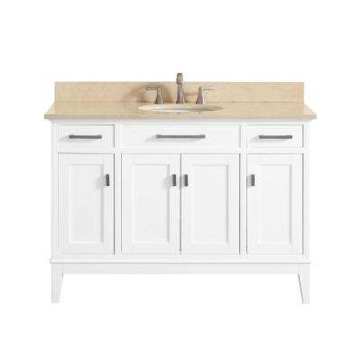 Madison 49 in. W x 22 in. D x 35 in. H Vanity in White with Marble Vanity Top in Galala Beige with White Basin