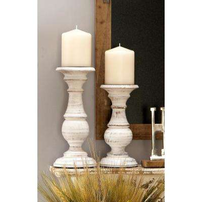 Distressed White Mango Turned Wood Style Post Candle Holders (Set of 3)