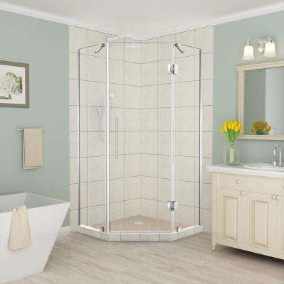 Merrick 42 in. to 42.5 in. x 72 in. Frameless Hinged Neo-Angle Shower Enclosure in Stainless Steel