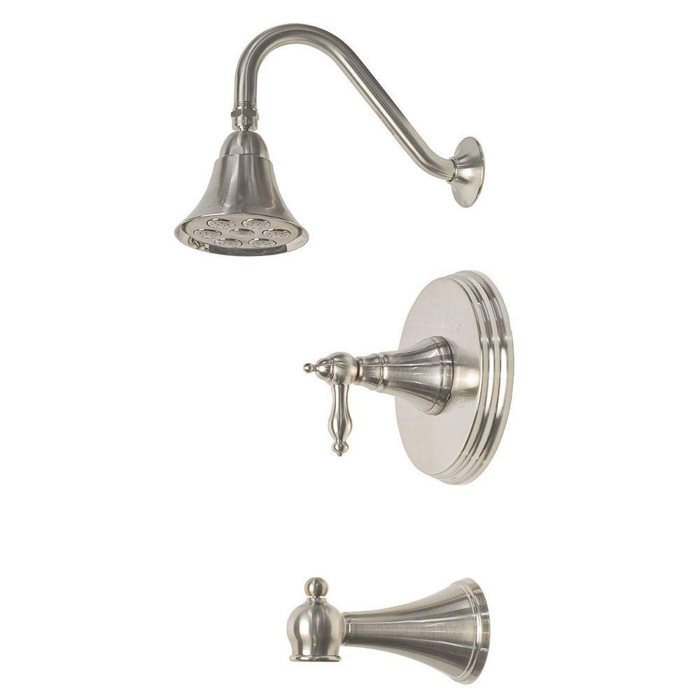 Pegasus Willow Oaks Tub and Shower in Brushed Nickel-DISCONTINUED