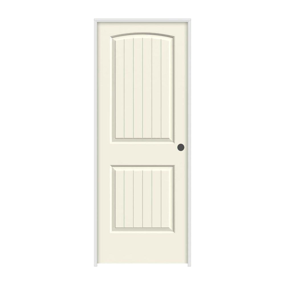 JELD-WEN 32 in. x 80 in. Santa Fe Vanilla Painted Left-Hand Smooth Solid Core Molded Composite MDF Single Prehung Interior Door