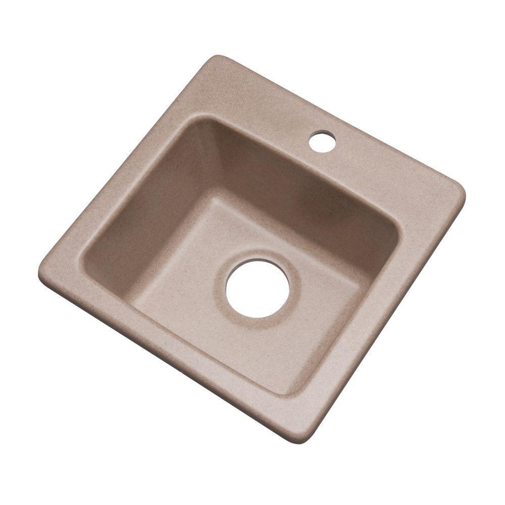 Westminster Dual Mount Granite Composite 16 in. 1-Hole Bar Single Bowl Kitchen Sink in Desert Sand