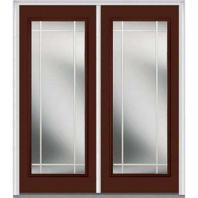 72 in. x 80 in. Prairie Internal Muntins Right-Hand Full Lite Classic Painted Steel Prehung Front Door