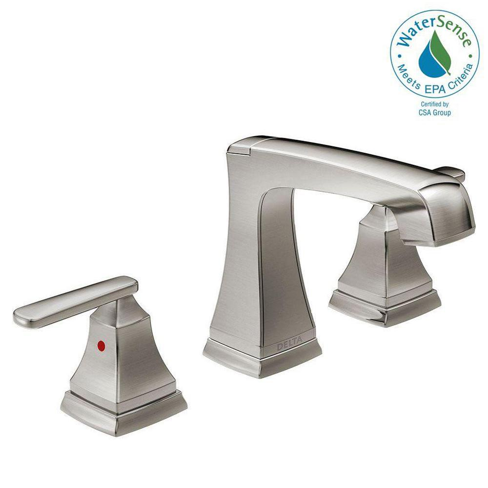 Widespread 2 Handle Bathroom Faucet With Metal Drain Assembly In Stainless