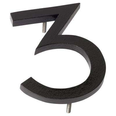 8 in. Black Aluminum Floating or Flat Modern House Number 3