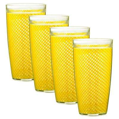 Fishnet 22 oz. Yellow Insulated Drinkware (Set of 4)