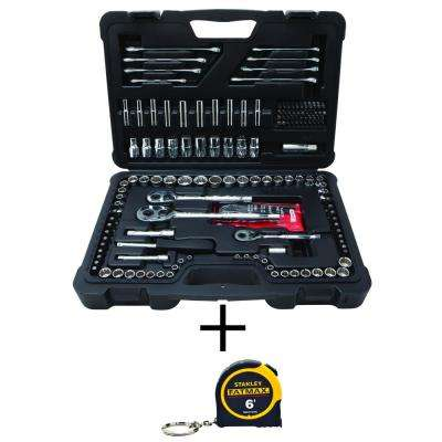 Mechanics Tool Set (173-Piece) with Bonus FATMAX 6 ft. x 1/2 in. Keychain Pocket Tape Measure