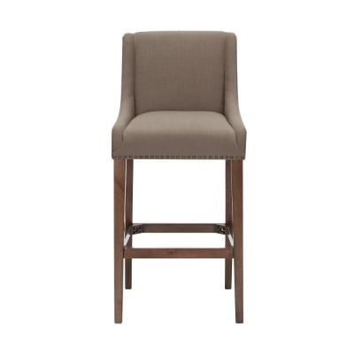 Blakewood Haze Oak Finish Upholstered Bar Stool with Back and Khaki Seat (20.47 in. W x 44.49 in. H)