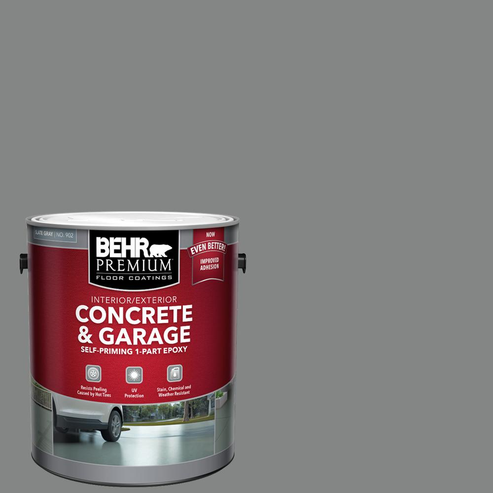 Behr Premium 1 Gal Slate Gray Self Priming 1 Part Epoxy Satin Interior Exterior Concrete And Garage Floor Paint 90201 The Home Depot