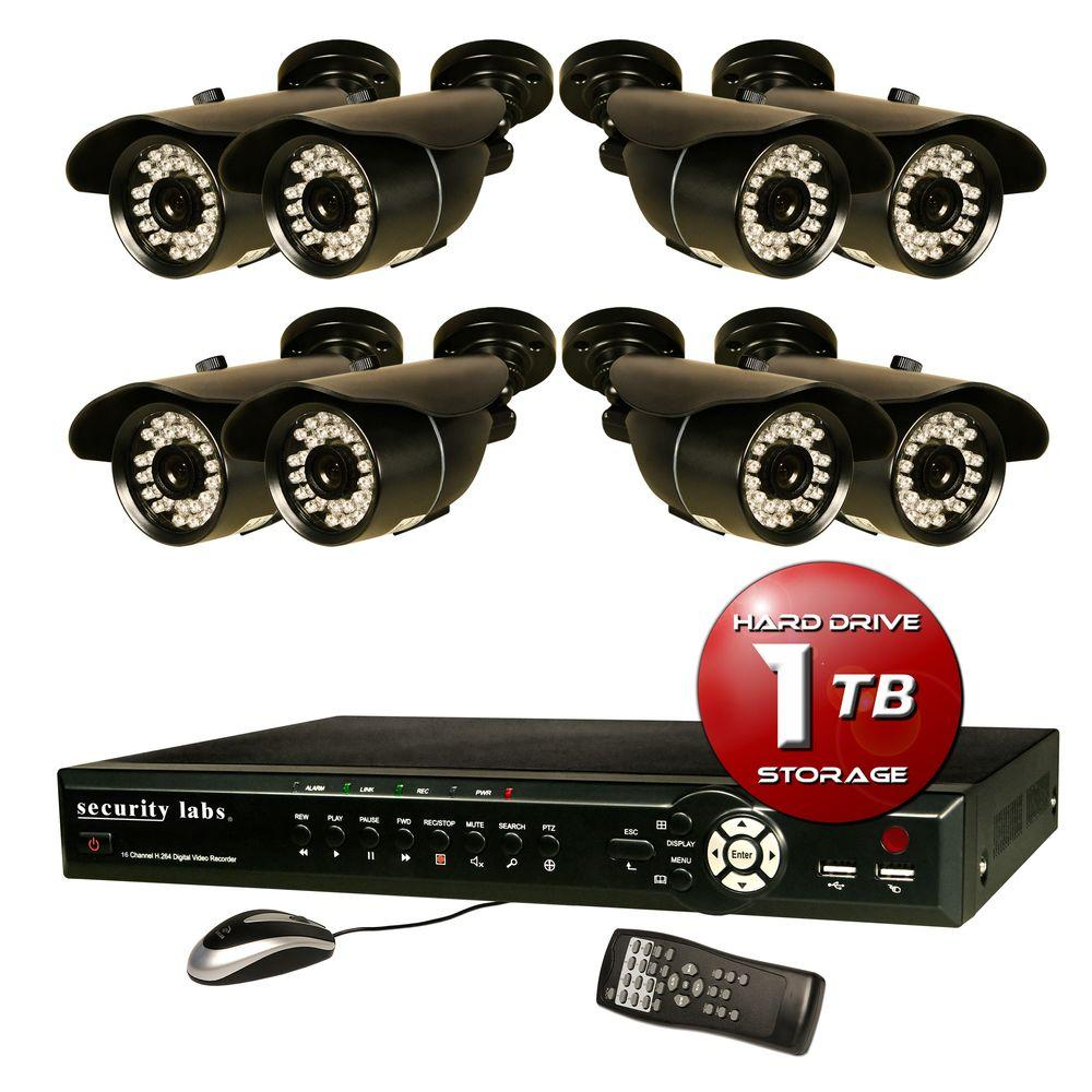 Security Labs 16 CH Surveillance System with H.264 / Smartphone DVR, 1TB HDD, Alarm E-mail and (8) 700TVL Weatherproof IR Cameras