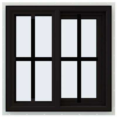 23.5 in. x 23.5 in. V-4500 Series Right-Hand Sliding Vinyl Window with Grids - Black