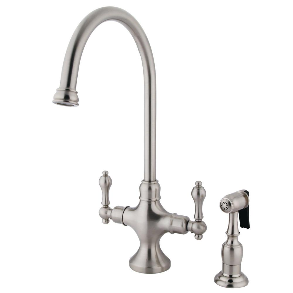 Kingston Brass Vintage 2 Handle Standard Kitchen Faucet In Satin