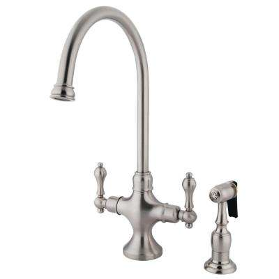 Vintage 2-Handle Standard Kitchen Faucet in Satin Nickel