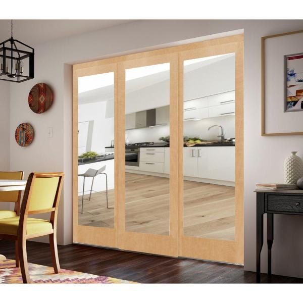 Impact Plus 96 In X 96 In Mir Mel Mirror Stain Grade Maple Solid Core Mdf Interior Closet Sliding Door With Matching Trim Smmm343 9696m The Home Depot