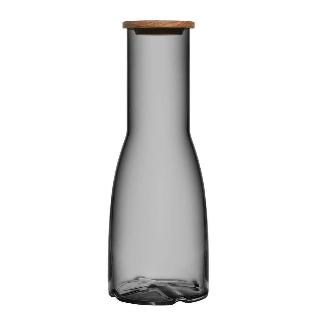 Bruk 44.6 oz. Smoke Grey Carafe with Oak Lid