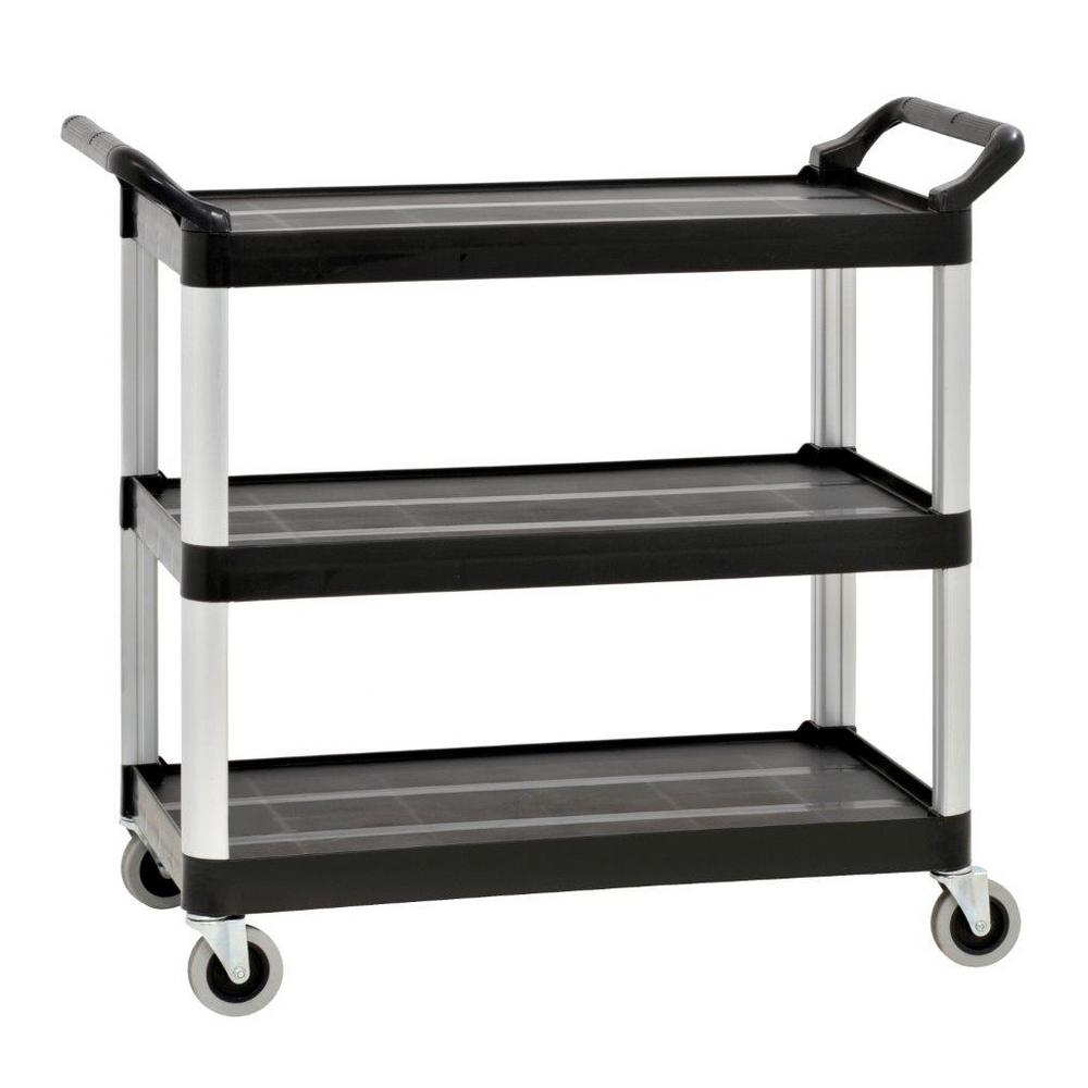 Sandusky 34in W 3-Shelf Plastic Utility Cart in Gray