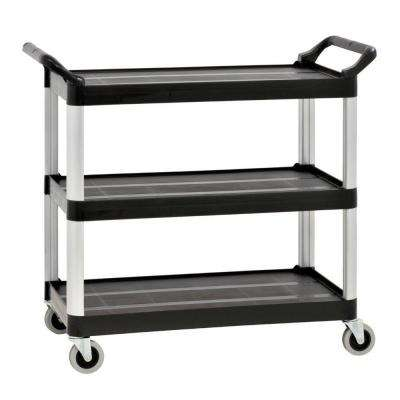 34 in. W 3-Shelf Plastic Utility Cart in Gray
