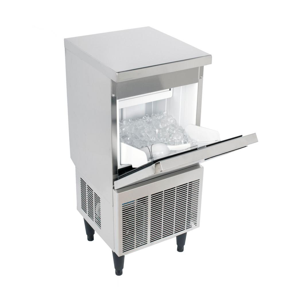 Kold Draft Cocktail Series 50 lb. Freestanding Ice Maker in Stainless Steel, Silver The KOLD-DRAFT Cocktail Series of Ice Machines provides consumers with a top-shelf choice for ice that matches their top-shelf beverage. The KOLD-DRAFT Cocktail Series produces a Large Cube measuring 1 x 1 x 1-1/4. The KOLD-DRAFT Cocktail Series consists of three machines with daily ice production of 50 lbs., 70 lbs. or 110 lbs. KOLDDRAFT equipment offers some of the best recovery rates in the industry, too. You get more ice, more often. Color: Stainless Steel.