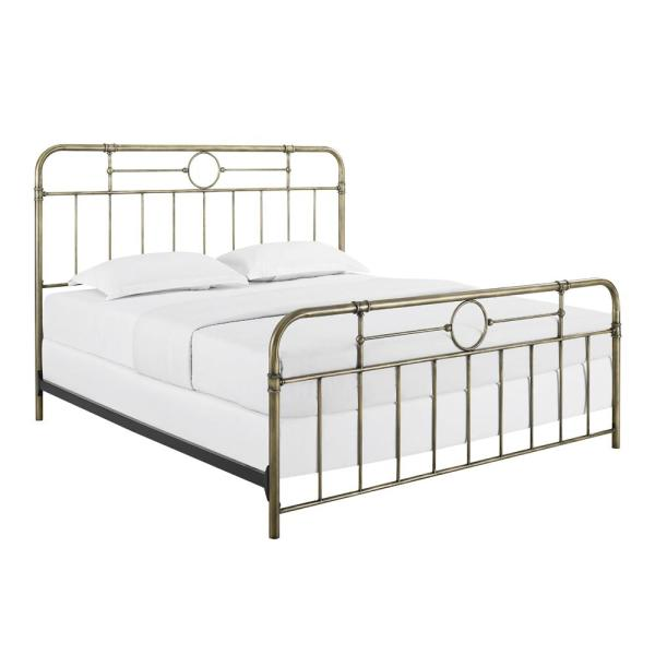 Walker Edison Furniture Company King Size Bronze Metal Pipe Bed HD8010