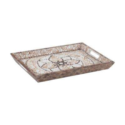 Shell Mosaic 18 in. x 13 in. x 2 in. Rectangular Natural Shell Decorative Tray