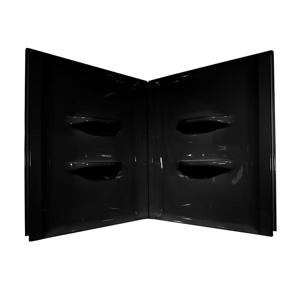 Lyons Industries Sea Wave 48 in. x 48 in. x 52 in. 2-Piece Direct-to-Stud Shower Wall Kit in Black
