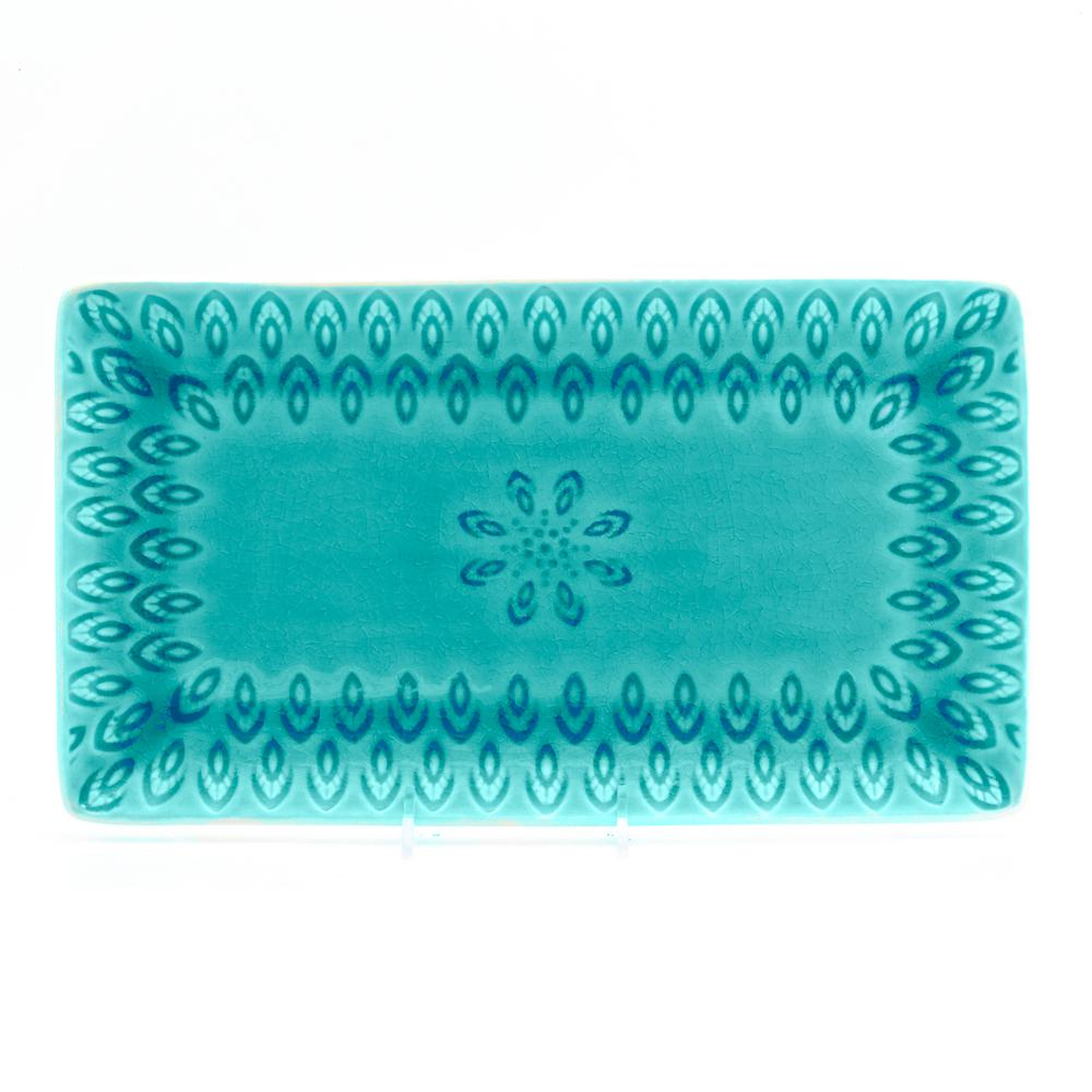 Peacock Rectangular Platter in Lagoon