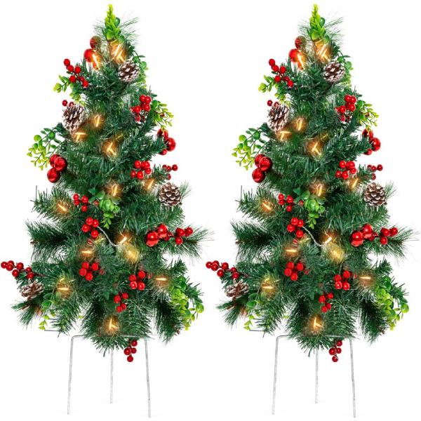 Best Choice Products 30 In Led Christmas Tree Path Lights With Berries Pine Cones And Ornaments Set Of 2 Sky5179 The Home Depot