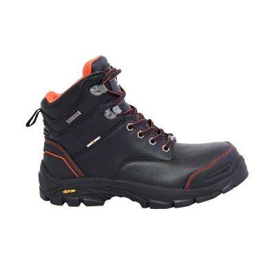 Bergen Men's 6 in. Size 8 Black Leather Composite Toe Puncture Resistant Waterproof Work Boot