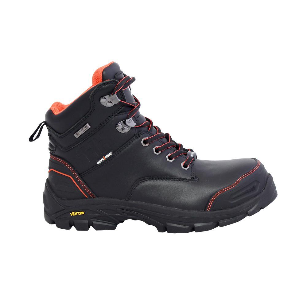 Bergen Men's 6 in. Size 12 Black Leather Composite Toe Puncture Resistant Waterproof Work Boot