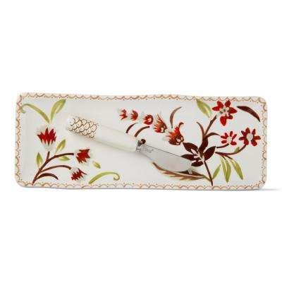 Autumn Bloom Harvest 2-Piece Earthenware Small Platter & Spreader