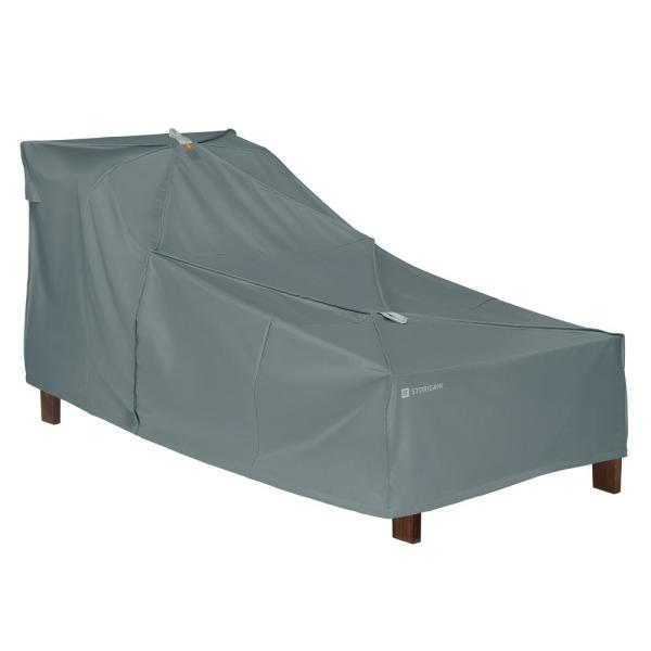 Storigami 78 in. L x 34 in. W x 34 in. H Easy Fold Patio Day Chaise Cover in Monument Grey