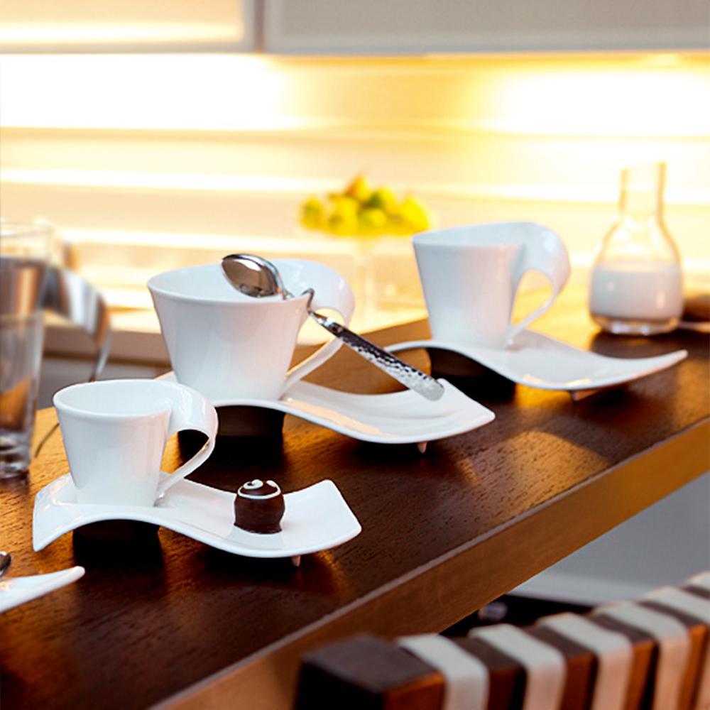 New Wave Caffe 11.75 oz. White Coffee Set (6-Piece Set)