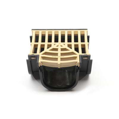 Easy Drain Series Tee for 5.4 in. D Trench and Channel Drain Systems in Black with Sandstone Grate