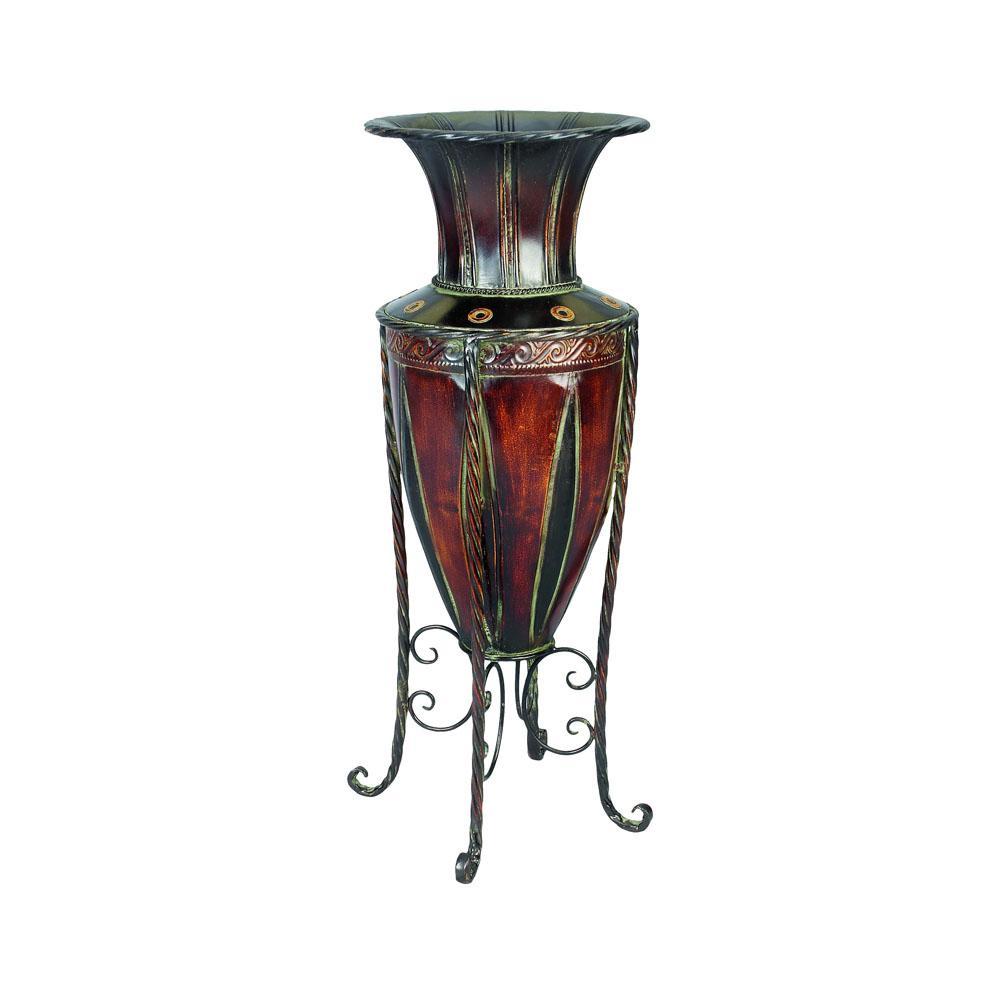 Polished Bronze Iron Decorative Vase with Stand