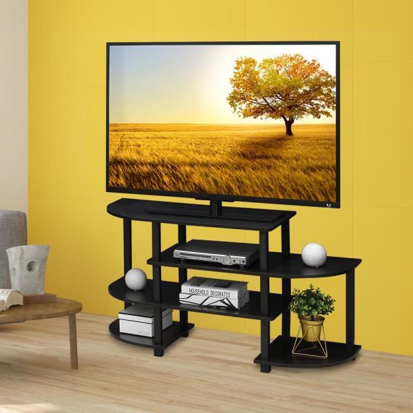Furinno Turn-N-Tube 42 in. Espresso Particle Board TV Stand Fits TVs Up to 48 in. with Open Storage