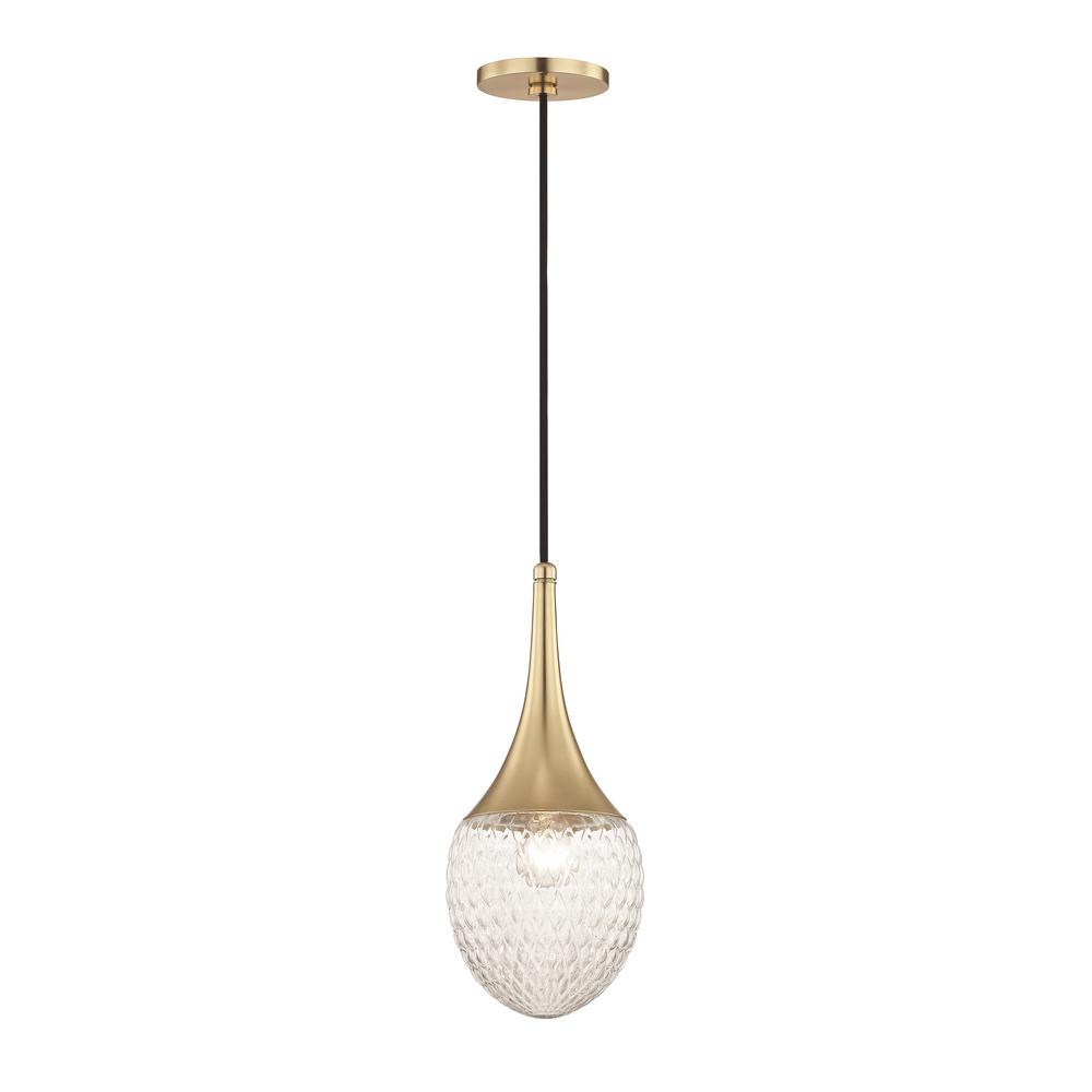Bella 1-Light Aged Brass 15.5 in. H Pendant with Clear Glass