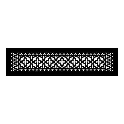 Scroll Series 30 in. x 6 in. Cast Iron Grille, Black without Mounting Holes