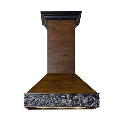 42 in. 1200 CFM Wooden Wall Mount Range Hood in Antigua and Walnut