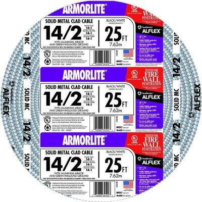 14/2 x 25 ft. Solid CU MC (Metal Clad) Armorlite Cable